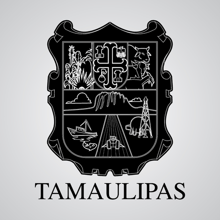 Silhouette of Tamaulipas Coat of Arms. Mexican State. Vector illustration Illustration