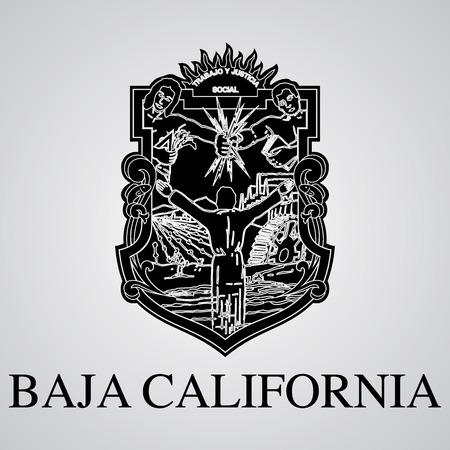 Silueta del escudo de armas de Baja California. Estado mexicano. Ilustración vectorial