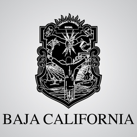 Silhouette of Baja California Coat of Arms. Mexican State. Vector illustration