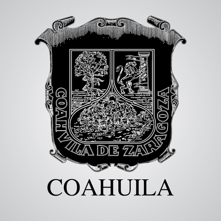 Silhouette of Coahuila Coat of Arms. Mexican State. Vector illustration