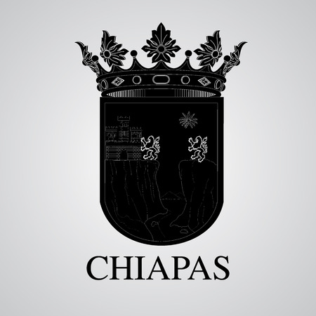 Silhouette of Chiapas Coat of Arms. Mexican State. Vector illustration