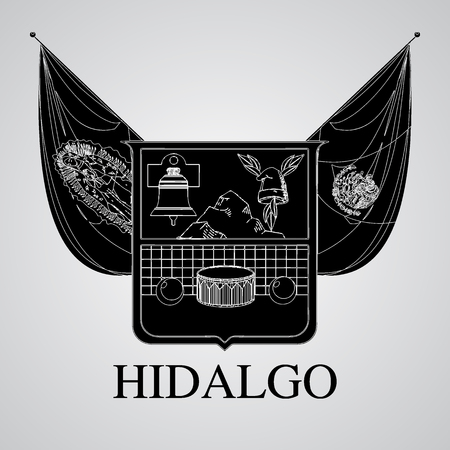 Silhouette of Hidalgo Coat of Arms. Mexican State. Vector illustration
