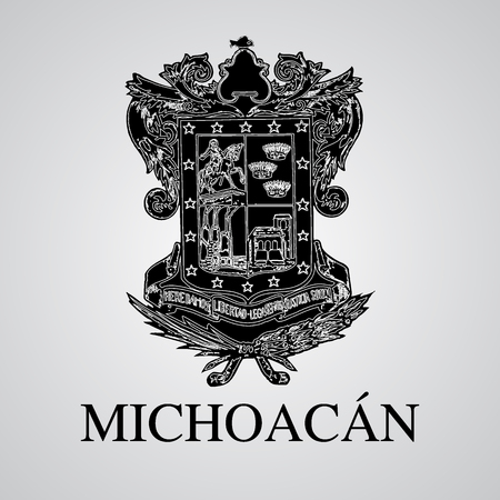 Silhouette of Michoacan Coat of Arms. Mexican State. Vector illustration