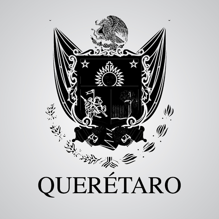 Silhouette of Queretaro Coat of Arms. Mexican State. Vector illustration