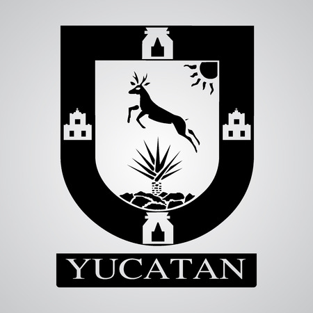 Silhouette of Yucatan Coat of Arms. Mexican State. Vector illustration
