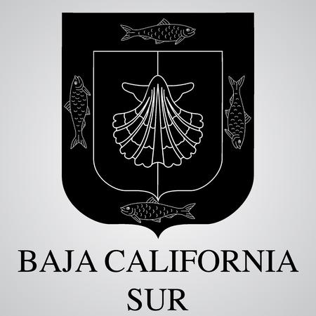 Silueta del escudo de armas de Baja California Sur. Estado mexicano. Ilustración vectorial