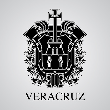 Silhouette of Veracruz Coat of Arms. Mexican State. Vector illustration Illustration