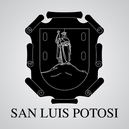 Silhouette of San Luis Potosi Coat of Arms. Mexican State. Vector illustration
