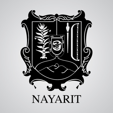 Silhouette of Nayarit Coat of Arms. Mexican State. Vector illustration