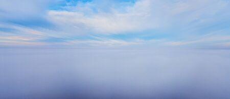 Skies above the fog. Bird eye view. Panorama Stock Photo