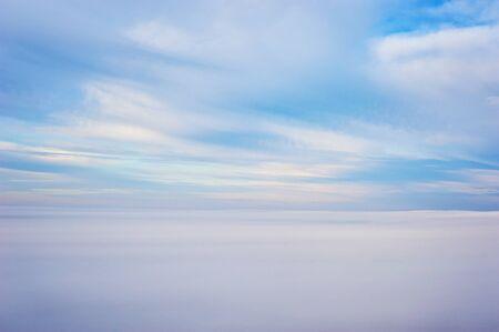Skies above the fog. Bird eye view Stock Photo