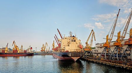Marine Industrial Commercial Port. Industrial zone in sea port. Container cranes. Cargo terminal of sea freight industrial port. Stock Photo