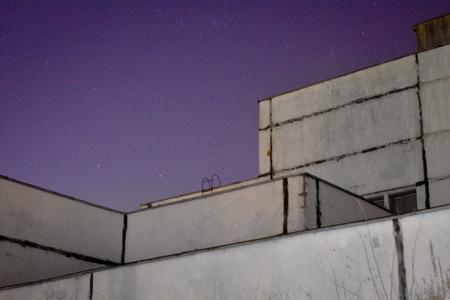 night school: Sovietic school and night sky Stock Photo