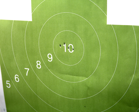 Accurate shot at the target. Three hits in the top ten Stock Photo