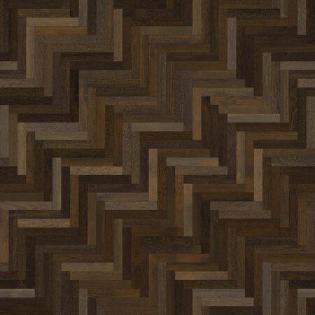 Seamless wood parquet texture (herringbone dark brown) Stock Photo
