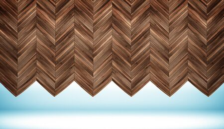 Bended empty room with chevron parquet wall and floor