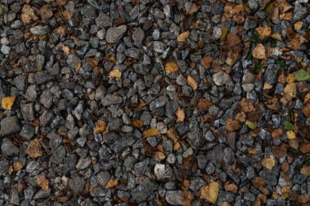 Crushed stones with yellow leaves