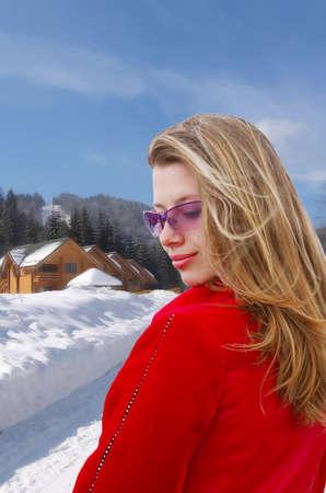 冬の風光明媚な背景にきれいな女の子