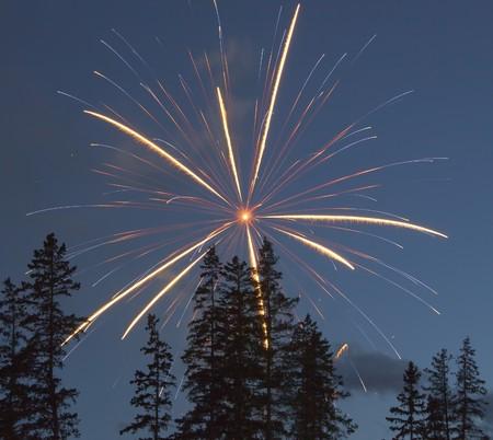 Fireworks, Banff National Park, Canada day Stock Photo