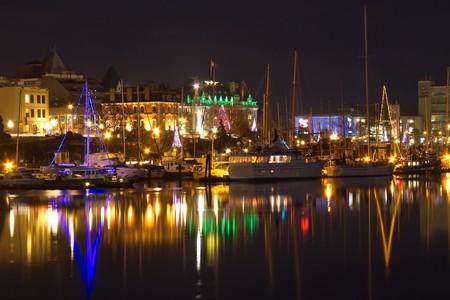 Victoria Inner Harbour at night, BC, Canada