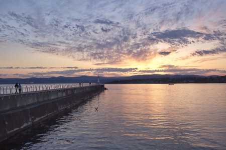 victoria bc: Sunset over the Ogden point, Victoria, BC, Canada