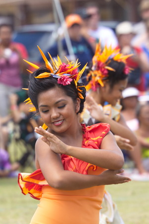 tahitian: Kapaa Beach Park, Kapaa, Kauai, Hawaii  - August 1, 2010: Young women perform Tahitian dance at the Heiva I Kauai August 1, 2010 in Kapaa Beach Park, Kapaa, Kauai, HI. Editorial