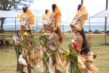 tahitian: Kapaa Beach Park, Kapaa, Kauai, Hawaii  - August 1, 2010: Young women at Heiva I Kauai Tahitian dance festival August 1, 2010 in Kapaa Beach Park, Kapaa, Kauai, HI.