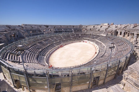 france: View of the antique theatre and arena of Nimes, Nimes, France Stock Photo