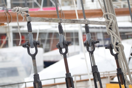 rope ladder: Part of rope ladder to the main mast of the ship Stock Photo