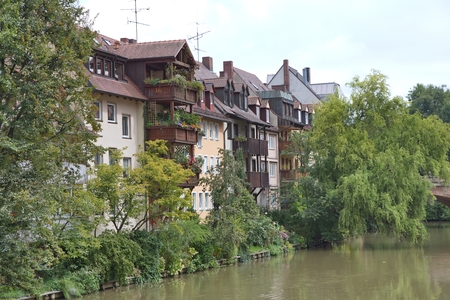 bayern old town: Summer scenic cityscape of the Old Town architecture in Nuremberg, Germany