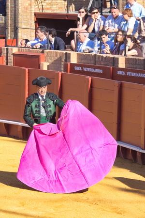 """corrida de toros: Sevilla - 16 de mayo: torero espa�ol est� llevando a cabo una corrida de toros en la plaza de toros el 16 de mayo de 2010 en Sevilla, Espa�a. """"Corrida"""" taurino de los toros es la tradici�n espa�ola."""
