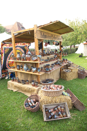antique booth: Clay pottery booth, Rothenburg, Germany