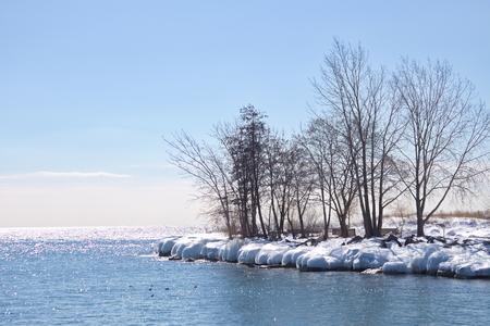 ontario: Lake Ontario frozen shoreline Stock Photo