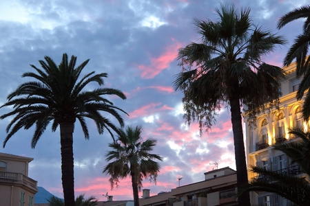 menton: Sunset in Menton, France