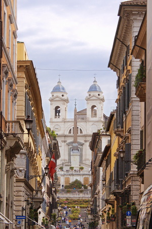spanish steps: Spanish Steps, view from city street Stock Photo