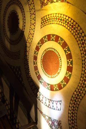 mosaic floor: Floor mosaic in Basilica Parrocchiale Santa Maria del Popolo Stock Photo