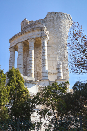 The Roman monument called Trophy of Augustus in the town of La Turbie, France