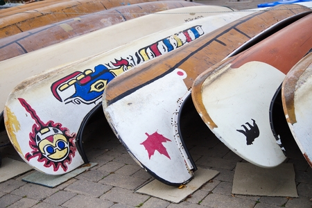 stored: Kayaks stored for winter, Toronto, Ontario Stock Photo