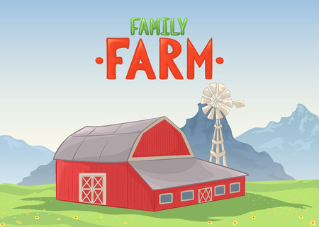 depot: Vector illustration of farm barn. Color cartoon Illustration