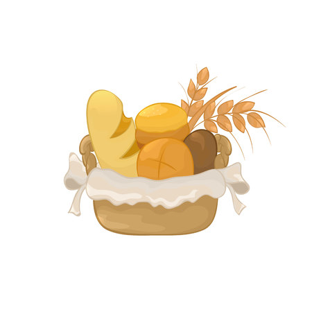 Vector Illustration. Basket with pastries. Color cartoon.