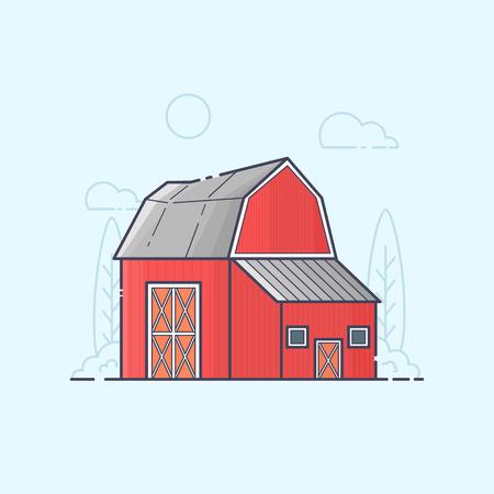 art processing: Vector Illustration of farm barn. Color line art Illustration
