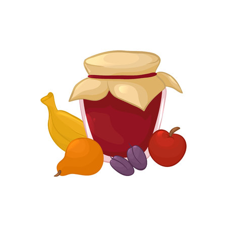 Vector illustration. Fruits and jar of jam. Color cartoon