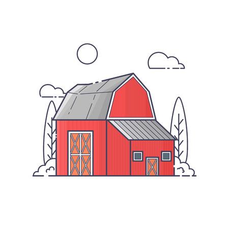 Illustration of barn. Ilustração