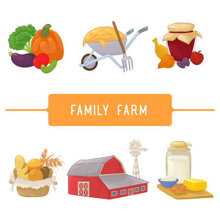 Illustration set of barn, dairy produce,  fruits and jar of jam, vegetables, basket with pastries, wheelbarrow with hay and a pitchfork.