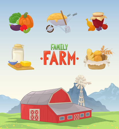 Illustration set of a barn, dairy produce,  fruits and jar of jam, vegetables, basket with pastries, wheelbarrow with hay and a pitchfork.