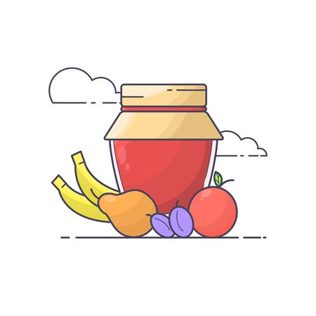 marmalade: Fruits and jar of jam.
