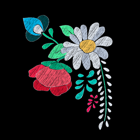 Vector floral embroidery effect Illustration