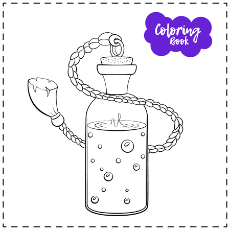 Vector outline illustration of a magic potion for Halloween on a white background. Stock Illustratie