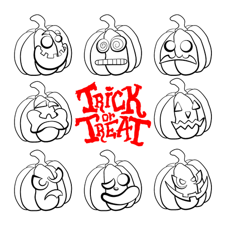 Vector set of outline illustrations of a pumpkins lanterns for Halloween with emotions on a white background. Trick or treat