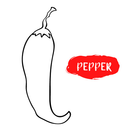 Vector illustration of hot pepper. Sketch, outline. Coloring on the topic of vegetables. Fresh food. Fresh food